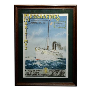 Abel Brun -Messageries Maritimes-Original 1907 Steam Boat French Poster For Sale