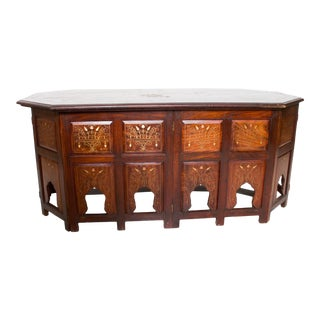 Fabulous Anglo Indian Folding Rosewood Inlaid Carved Arch Coffee Table 1950s For Sale