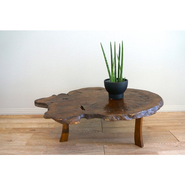 Antique Japanese Exotic Wood Slice Live Edge Table - Image 4 of 8
