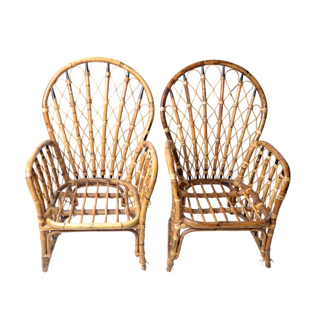 Asian Rattan & Bamboo Dining Chairs - A Pair For Sale - Image 3 of 10