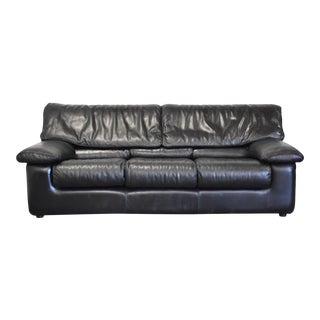 Roche Bobois Black Leather Sofa For Sale