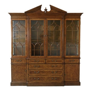 Jonathan Charles Large Mahogany Breakfront Bookcase Cabinet For Sale