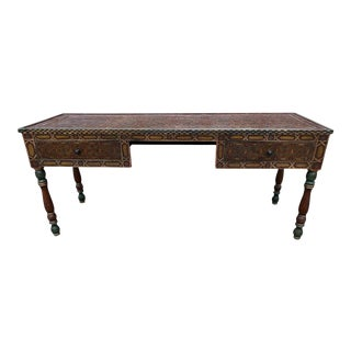 20th Century Moroccan Painted Wood Desk For Sale