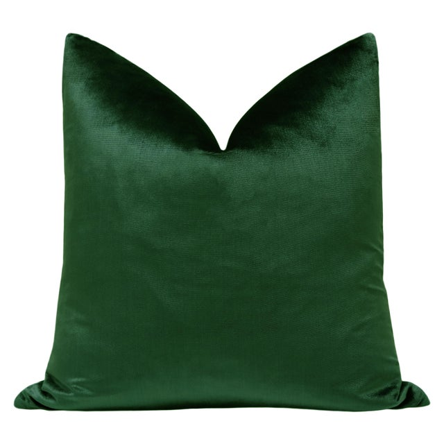 "Pair of luxurious 22"" Italian Silk Velvet pillows in a rich emerald green. Meticulously handcrafted with serged interior..."