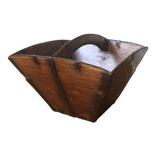 Antique Wood Bin Decorative Basket For Sale