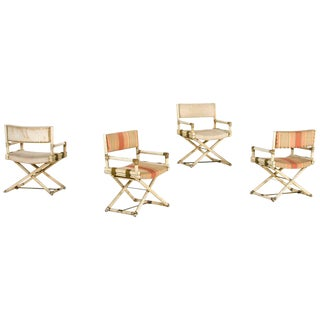 McGuire, Set of Four Armchairs, Lacquered Bamboo, Circa 1960, Italy For Sale
