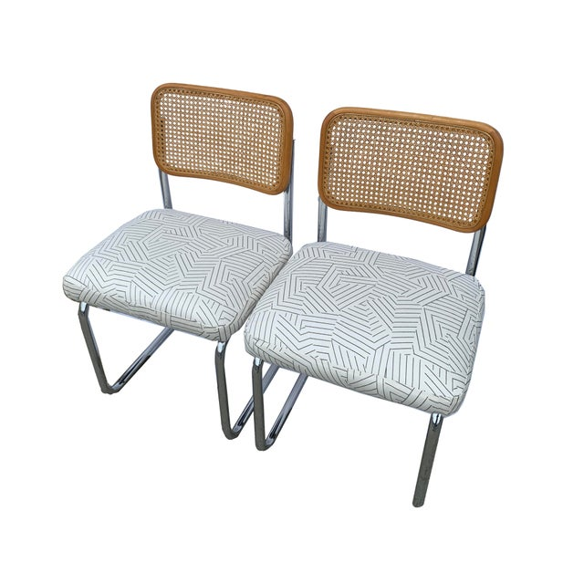 Mid 20th Century Vintage Chrome and Cane Chairs- A Pair For Sale - Image 5 of 7