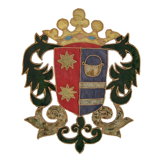 19th Century Italian Marquee Coat of Arms Armorial Embroidery For Sale