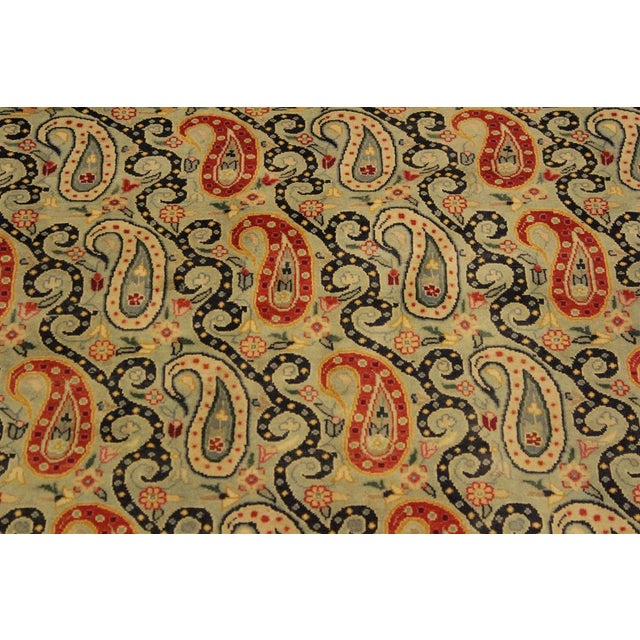 1990s Shabby Chic Guhm Pak-Persian Pearline Lt. Green/Tan Wool Rug - 4'8 X 7'1 For Sale - Image 5 of 8