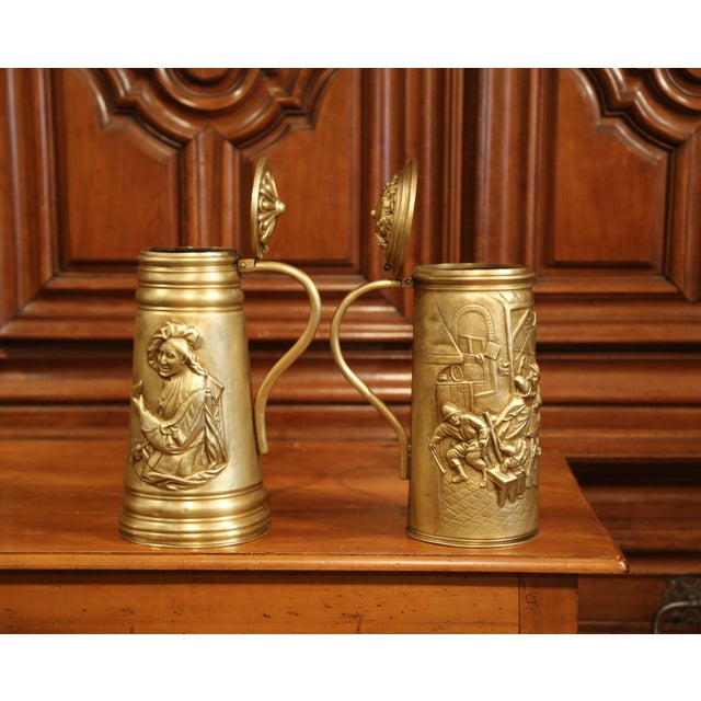 19th Century Belgium Brass Lidded Beer Pitchers With Repousse Decor - a Pair For Sale In Dallas - Image 6 of 8