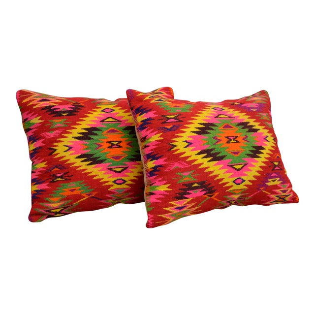 Vintage Turkish Kilim Rug Pillow Covers - A Pair - Image 1 of 5
