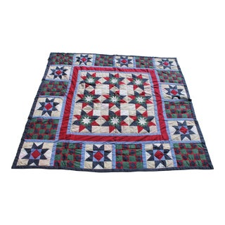 Midcentury Nine Patch Star Quilt With Border For Sale
