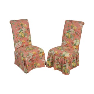 Floral Print Custom Upholstered Pair Parsons Side Chairs For Sale