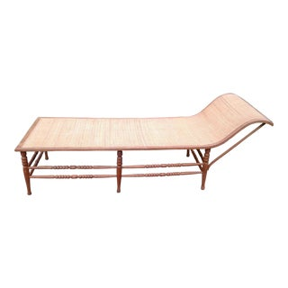 Vintage Caribbean Wood-Frame Woven Chaise Lounge For Sale