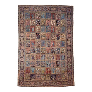 Persian Tabriz Rug with Garden Design- 10′5″ × 15′10″ For Sale