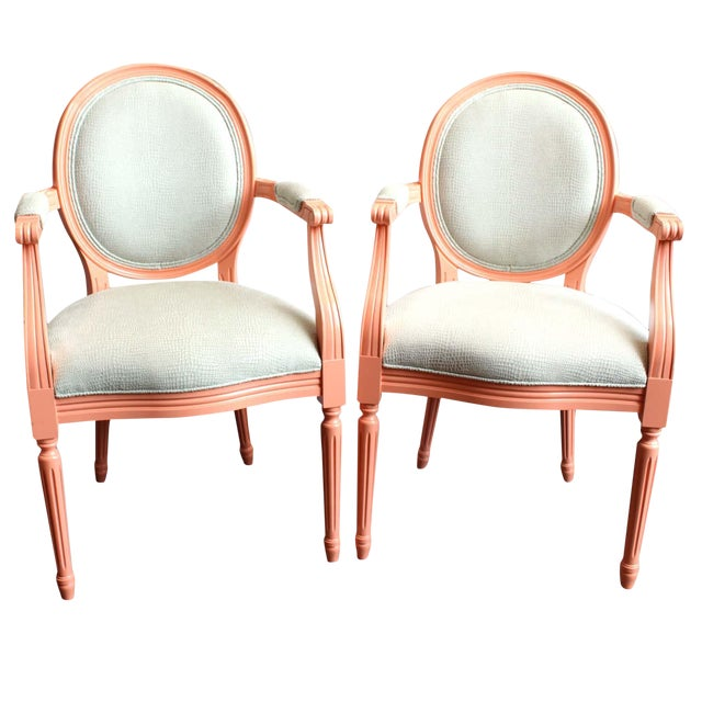 Vintage Painted Louis XVI Style Arm Chairs, Pair For Sale