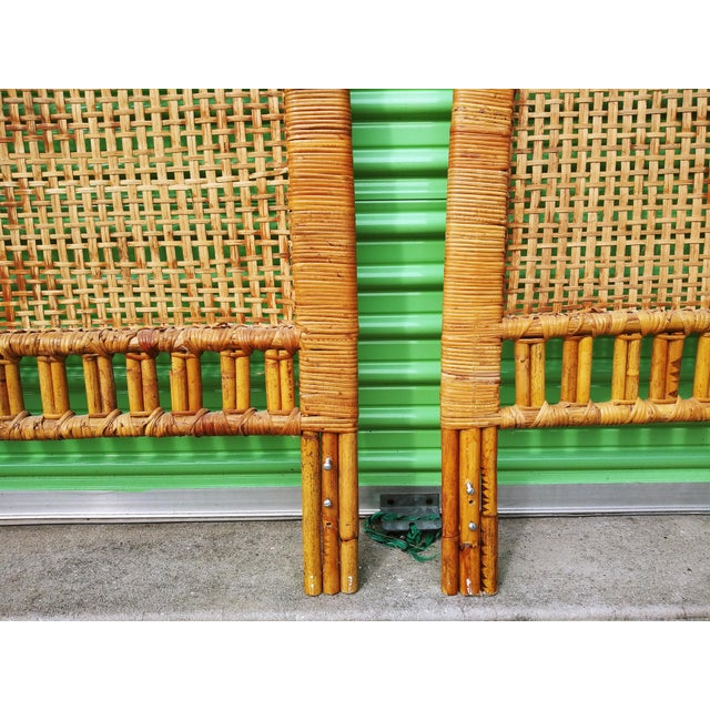 Boho Chic Handwoven Bamboo & Rattan Cane Twin Headboards - a Pair For Sale In Tampa - Image 6 of 13