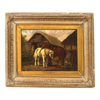 19th Century William Shayer Oil of Stable Scene Painting For Sale