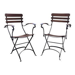 French Country Antique Iron & Teak Garden Chairs – a Pair For Sale