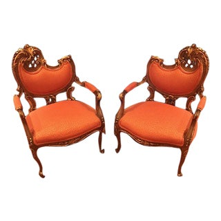 1960s Vintage Ornate Bergere Chairs- A Pair For Sale