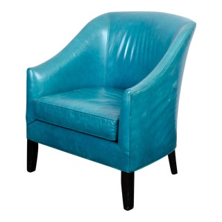Mitchell Gold + Bob Williams Cerulean Blue Leather Armchair For Sale
