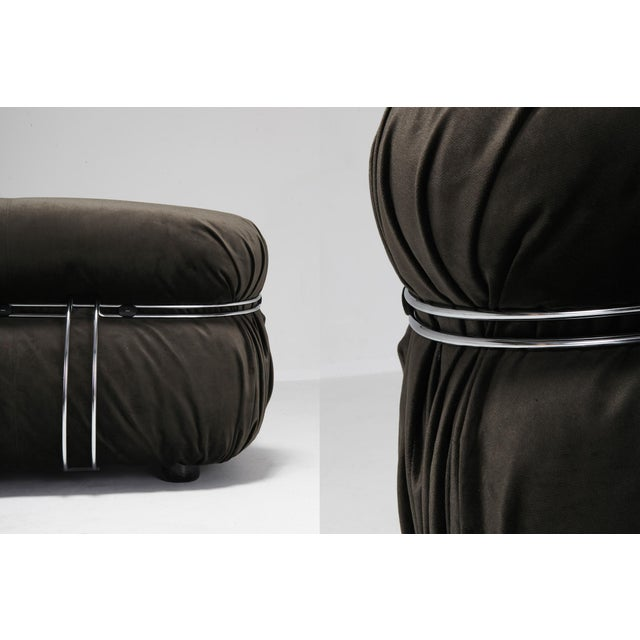 Chrome Soriana Two-Seat Sofa by Afra and Tobia Scarpa for Cassina For Sale - Image 7 of 12