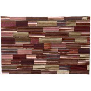 Modern Vintage Turkish Jajim Kilim Flat-Weave Rug With Colorful Stripes - 7′5″ × 11′5″ For Sale