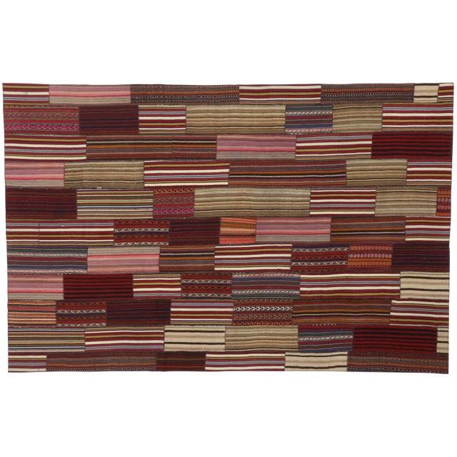 Modern Vintage Turkish Jajim Kilim Flat-Weave Rug With Colorful Stripes - 7′5″ × 11′5″ For Sale