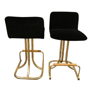 Set of 2 Design Institute America Mid Century Modern Black Velvet, Brass & Wood Bar Stools