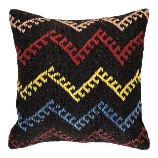 "Electric Zig-Zag Vintage Kilim Pillow | 16"" For Sale"