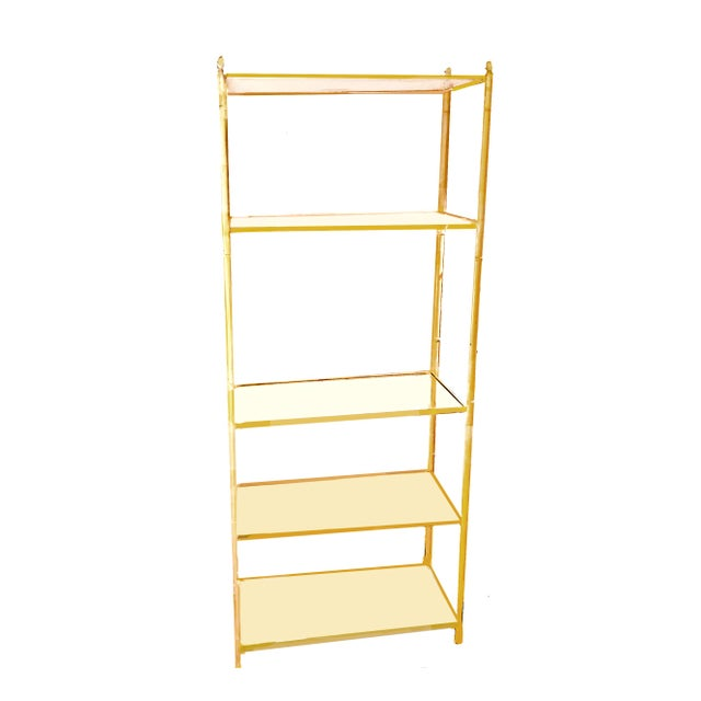 Yellow Jansen Style Yellow Painted Metal Framed 5-Tier Etagere For Sale - Image 8 of 8