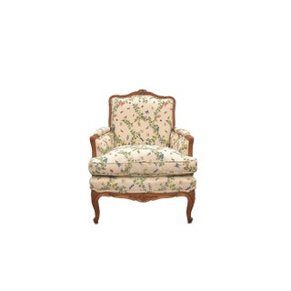 1980s Vintage Carved Bergere Chair For Sale