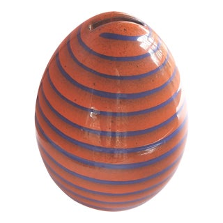 1960s Vintage Italian Orange and Purple Egg Shaped Coin Bank For Sale