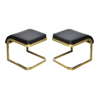 Brass and Leather Stools by DIA For Sale