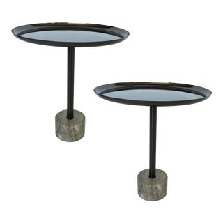 Pair of Minimalist Metal and Marble Petite Side Tables For Sale
