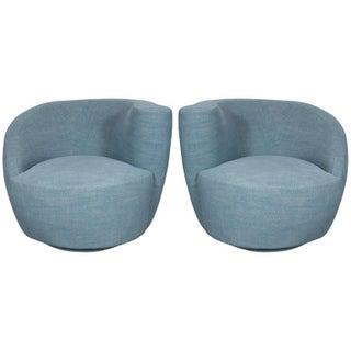 Pair of Mid-Century Modern Nautilus Chairs by Vladimir Kagan in Blue Twill