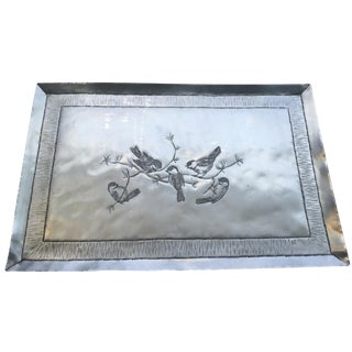 Hand-Engraved Metal Chickadee Tray
