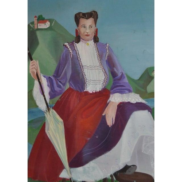Cubism Nancy Larsen Vintage Oil Painting, C.1940's For Sale - Image 3 of 6
