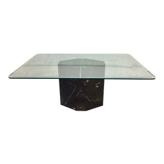 Marble Lucite & Glass Dining Table
