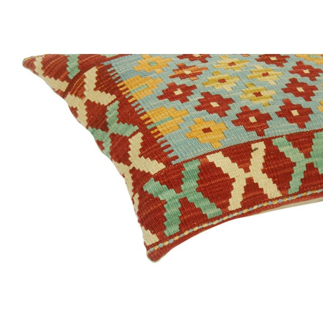 """Asian Christee Red/Lt. Blue Hand-Woven Kilim Throw Pillow(18""""x18"""") For Sale - Image 3 of 6"""