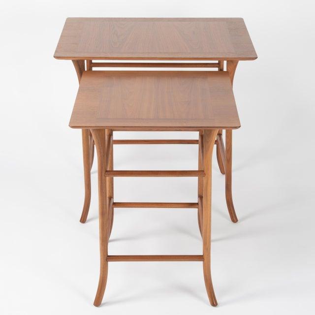 T.H. Robsjohn-Gibbings Walnut Nesting Tables Inspired by T.H. Robsjohn-Gibbings, Circa 1990s - a Pair For Sale - Image 4 of 13