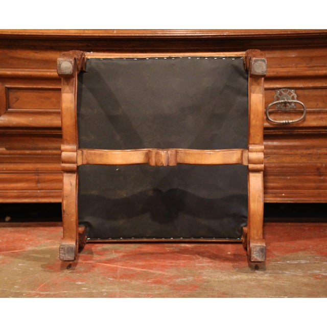 19th Century French Louis XIII Carved Walnut Stool and Verdure Aubusson Tapestry For Sale - Image 10 of 11