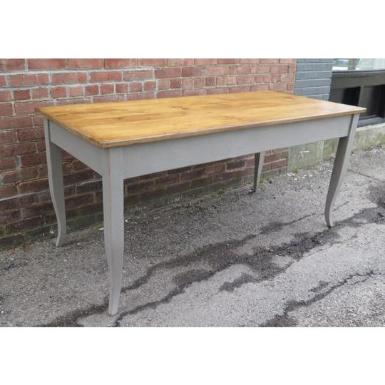 Cottage Antique French Dining Table in Pine With Waxed Top For Sale - Image 3 of 6