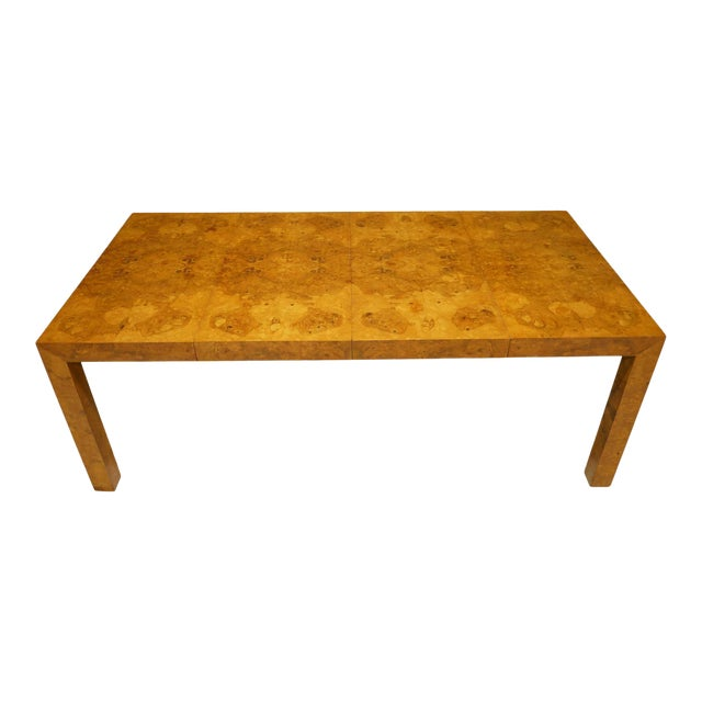 Milo Baughman Olivewood Burl Parsons Dining Table For Sale