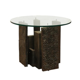 Artist Paul Evans Sculpted Brutalist Metal Side Table With Glass Top For Sale
