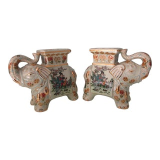 Pair of Miniature Chinese Style Elephant Stool Bookends or Figurines For Sale