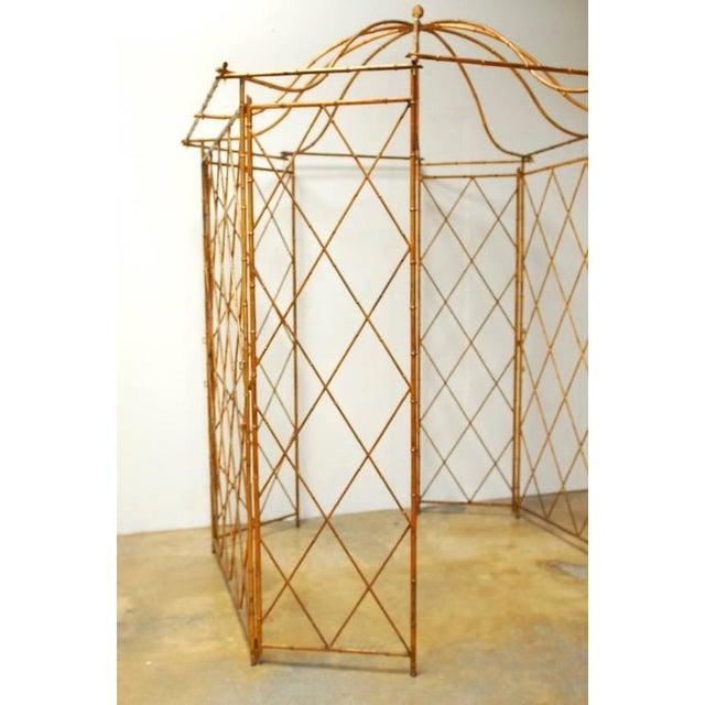 Gilt Metal Faux Bamboo Gazebo For Sale - Image 5 of 10