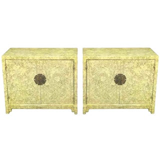 """Pair of Henredon """"Circa '75"""" Marbleized Lacquer Asian Form Cabinets For Sale"""