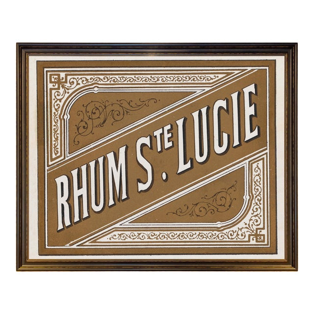 Lithograph of Antique Rum Label From the French West Indies in New Framing For Sale