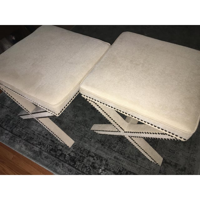 Modern Linen Nailhead X-Bench Ottoman - a Pair For Sale - Image 3 of 8